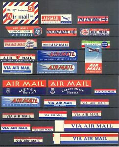 USA - AVIATION -AIR MAIL --28 x LABEL--VF -@ 19