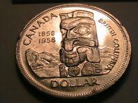 1858-1958 Canada One Dollar Ch BU 100 Year Centennial Silver Commemorative Coin