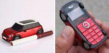 Mini Car Mobile Phone, Dual sim Card, Memory, Unlocked,Red