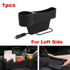 Upgrade Dual USB Car Seat Gap Slit Pocket Cup Holder Left Side Storage Organizer