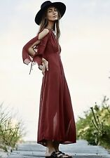 NEW Free People Endless Summer rusty red Babydoll Cold Shoulder Maxi Dress S