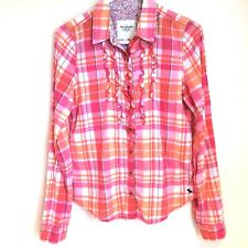 ABERCROMBIE & FITCH Women's Pink Orange Plaid Cotton Button Front Shirt Sz M