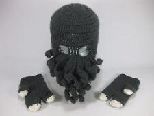 Kids Winter Mask and Mittens Ski Beanie Hat Cap Grey Beardo Cthulhu Tentacles
