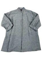 Eileen Fisher Womens Small Gray Linen Blend Button Front Shirt Tunic Lagenlook