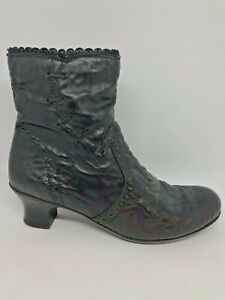 Rieker Sz 38 Black Crush Look faux Leather Granny Heel Booties No Inserts