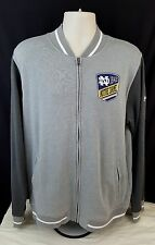 NOTRE DAME Under Armour Full Zip Track Jacket Mens LARGE Gray Loose Fit w/ Patch