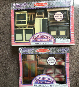 Melissa Doug Dollhouse Furniture LOT Kitchen And Living Room 1:12 Sealed