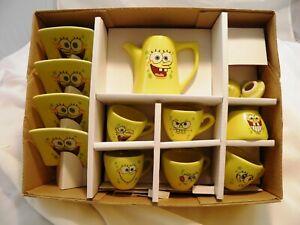 Spongebob Squarepants 13 pc Spongerific Tea Set Nickelodean 2004 Original Box