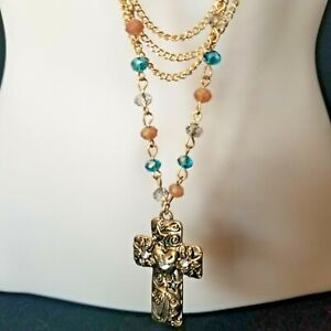 Western Sweater Necklace Gold Rust Blue Cross Religious Studio S