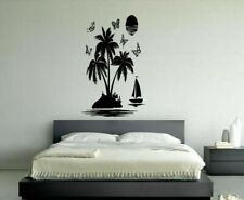 Wall Vinyl Sticker Decals Mural Design Mural Tropical Island Boat Palms #888