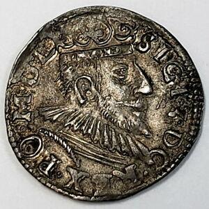 1597 Polish Lithuanian Trojak 3 Grosze Silver Sigismund III Vasa Coin *PL9731