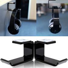 More details for headphone stand hanger mount holder hook dual headset clever under desk tape new