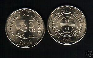 PHILIPPINES 5 PESOS KM-272 2005 ARM EMILIO AGUINALDO UNC CURRENCY MONEY COIN