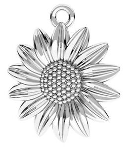 ONE STERLING SILVER SUNFLOWER CHARM / PENDANT WITH INTEGRAL CLOSED LOOP, 18 MM