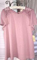 NEW Plus Size 1X Pink Blouse Mauve Lace Crochet Flutter Sleeve Top Shirt