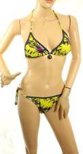 Apple Bottoms Women's Bikini Swim Set Yellow Halter Straps Size S