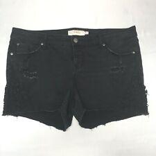 Torrid Shorts size 18 distressed denim black lace pockets zip button