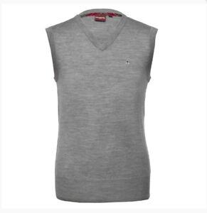 Merc London Men's Jenz, Sleeveless Pullover /Jumper -Mineral Marl (Grey)-L-BNWT