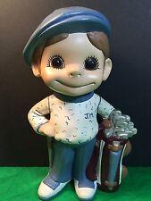 Boy Golfer Figurine Dressed In Blue Gift Collectible