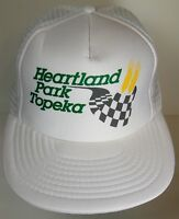 Vtg 1990s HEARTLAND PARK TOPEKA KS Racing Advertising SNAPBACK HAT TRUCKER CAP