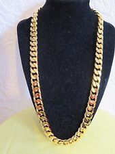 24Carat GOLD Plated Chain 12mm SOLID NECKLACE, Fashion Men's Birthday Xmas Gift