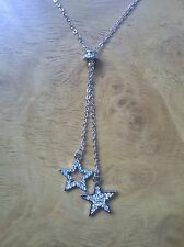 "20"" SILVER PLATED NECKLACE WITH CRYSTAL STAR PENDANTS GIFT BOX N16135"
