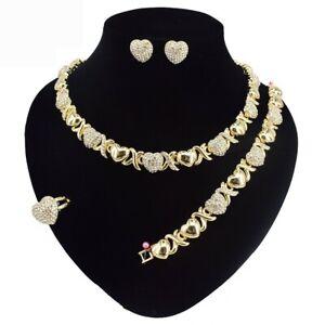 #72 HUGS & KISSES Xo Set Necklace bracelet Earrings Ring Real Gold filled