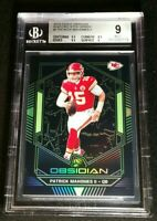 BGS 9 1/1 PATRICK MAHOMES II ELECTRIC ETCH GREEN SSP /25 2019 Panini Obsidian #1