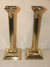 More details for a good pair of classic corinthian column brass candle stick holders 10