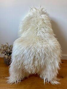 XXL Large Genuine Icelandic Sheepskin Rug Ivory Cream Real Slightly Curly Fur