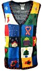 Women's Button Up Holiday Party Ugly Christmas Xmas VEST Sweater Sz XL A903