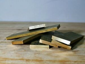 """Brass flat bar 5"""" long 1-1/2"""" wide 1/4"""" thick solid plate mill stock knifemaking"""