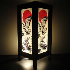 Asian Oriental Japanese Samurai Eagle Spy Art Bedside or Table Lamp Light Shades