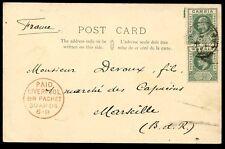 Gambie 1903 Cour hall PPC 1/2 D paire Bathurst pmks + très fines Liverpool paquet BR