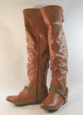Tan Flat Round Toe Ankle Buckle With Studs THigh High Boot Size 5.5