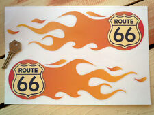 """ROUTE 66 FLAME Style STICKERS 6"""" Pair Classic Car Hot Rod Drag Americana Racing"""