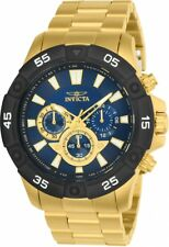 New Mens Invicta 24585 Pro Diver Blue Dial Chronograph Gold Tone Bracelet Watch