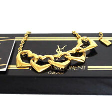 Authentic Yves Saint Laurent YSL Goldtone Fifth Hearts Necklace Good in Box