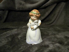"""Vintage Porcelain Ceramic Bell Girl Angel With Lamb Aprox 4 """" x 2 """""""