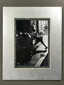#BW-PHOTO / 5x7 - Double Matted to 8x10 - STREET DRUNK ON BENCH at Night - POSED