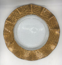 Large Glass Plate Dish Gold Rim Festive Charger Christmas Celebration Decor