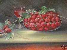 ANTIQUE 19thC VICTORIAN LISTED ARTIST GEORGE BEARDSLEY STRAWBERRY OIL PAINTING