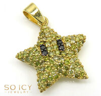 1.20ct Mens 10k Yellow Real Solid Gold Canary Diamond Star Pendant