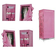 SINGLE PINK CHILDREN GIRLS CANVAS WARDROBE CLOTHES TOY STORAGE SHOE ORGANISER