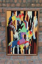 True Vintage Hippie Horse 60's Bobo Embroidered Stitch Wall Hanging Mod colorful