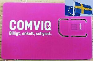 3pcs COMVIQ KONTANTKORT SWEDISH PREPAID SIM CARD 3-in-1 (No cardboard package)