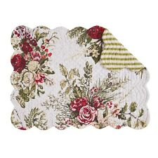 """Set of 4 Pcs, 13x19"""" Quilted Placemat, Jardin Rouge,862621721"""