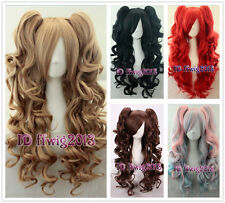 70cm Long wavy Curly Clip-In Ponytails Lolita Style Cosplay Wig +a wig cap