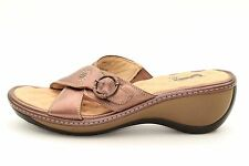 Softwalk Women's Bronze Leather Slip On Wedge Sandals Size 9.5