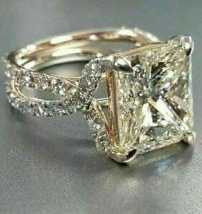 3.72 Ct Princess Cut VVS1 Diamond Wedding Engagement Ring 14k White Gold Over
